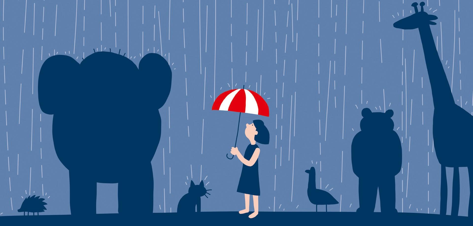 Grafik mit Tiersilhouetten und einer Frau mit Regenschirm. Grafik: LWL